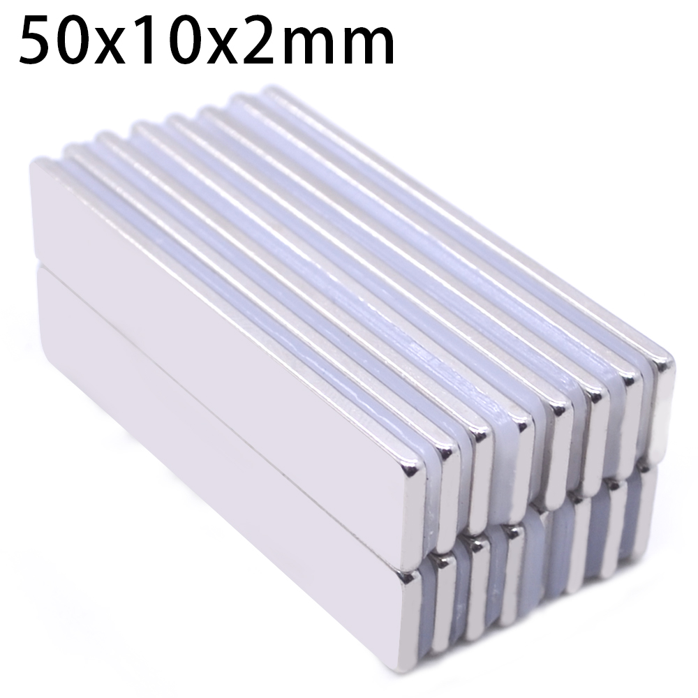 1/5/10pcs <font><b>50mm</b></font> x 10mm x 2mm Powerful Block Square <font><b>Magnet</b></font> Craft Model Rare Earth 50*10*2 Neodymium Permanent <font><b>Magnet</b></font> 50x10x2 image