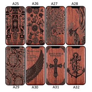 Image 5 - 3D Carved Wood Cartoon Bear Case For Huawei Honor View 30 Pro View30 Dragon Lion Wolf Tiger Tree wooden carve Cover