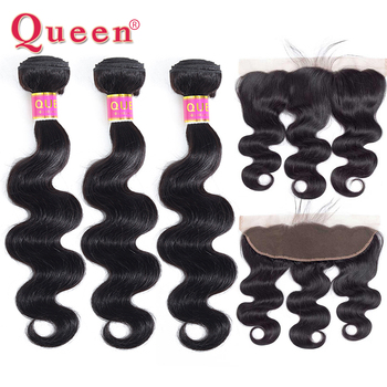Queen Hair Products Brazilian Body Wave Bundles With 13x4 Frontal Closure 3 or 4 Human Hair Bundles With Closure 100% Remy Hair