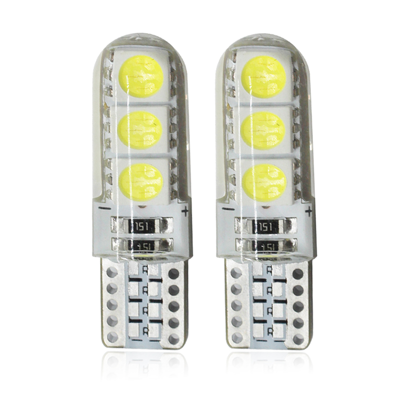 2x T10 5W5 W5W LED Bulbs Car Interior Dome Reading Light 12V 7000K 6SMD Auto Wedge Side Clearance Lamp Silicone Waterproof White