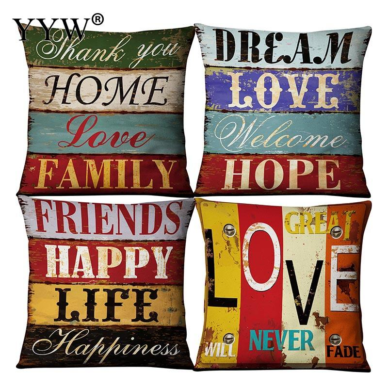 Vintage Letter Pillow Case Linen Pillow Covers Cushion Pillow Cover Pillowcases Decorative Pillowcase Pillow Case 45*45cm Square