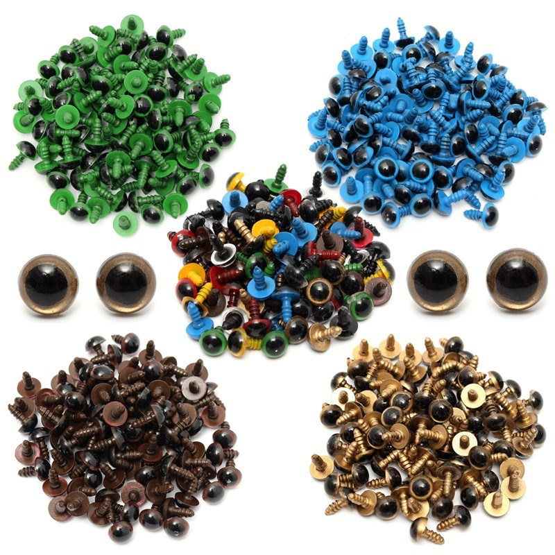 JIMITU 80Pcs/40Pair 10mm Color-Mix Plastic Safety Eyes For Teddy Bear Stuffed Toy Snap Animal Puppet Doll Craft DIY Accessories