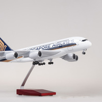 1:160 Airplane Airbus A380 Singapore Airline Model LED Light and Wheel Diecast Plastic Resin Plane For Collection