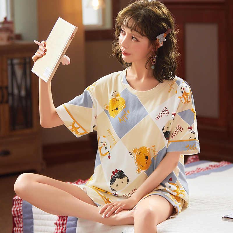 BZEL Simple vêtements de nuit Pyjamas femmes Pyjamas coton à manches courtes dames Pijama ensembles Homewear mignon dessin animé salon vêtements t-shits