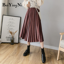 Beiyingni Pleated Midi Skirts Womens Solid Color Warm Autumn