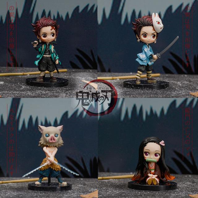 Demon Slayer Figure Kimetsu no Yaiba Q posket 14cm Kamado Tanjirou Kamado Nezuko Tomioka Giyuu Agatsuma Inosuke PVC Figure Toys