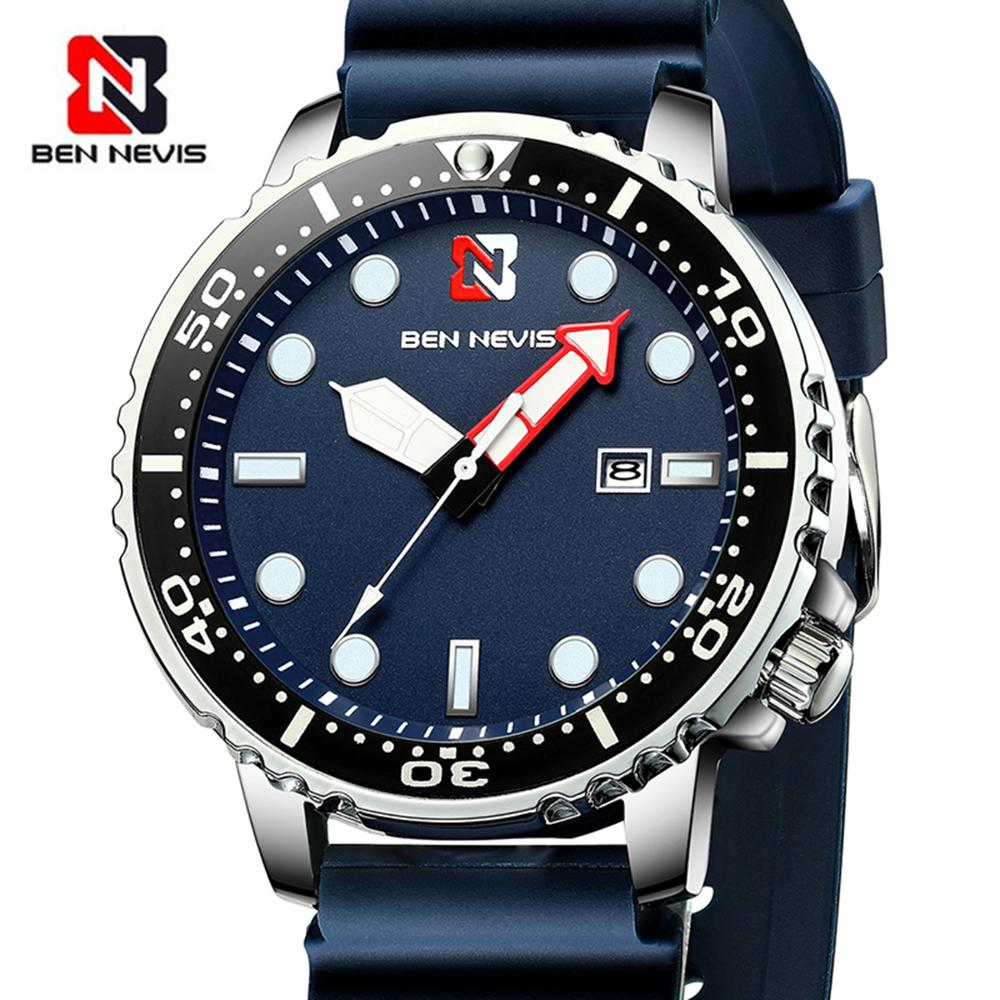 Ben Nevis Men's Watches Fashion Analog Quartz Watch With Date Military Watch Waterproof Silicone Rubber Strap Wristwatch For Man