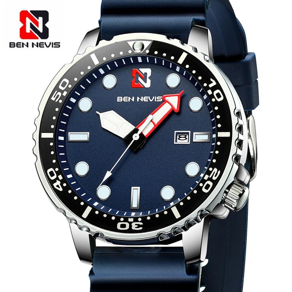 Ben Nevis Men's Watches Fashion Analog Quartz Watch With Date Military Watch Waterproof Silicone Rubber Strap Wristwatch For Man