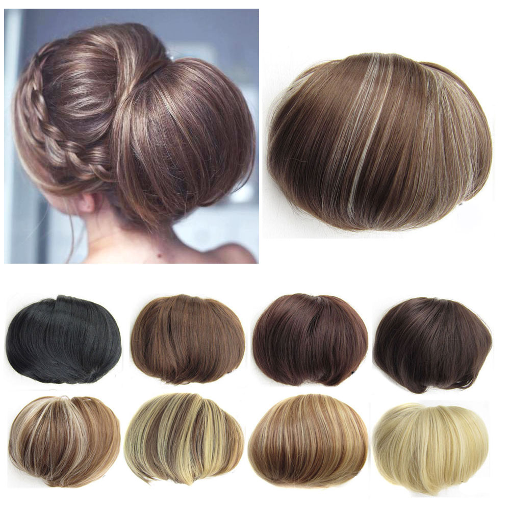 Elegant Women's Synthetic Natural Hair Bun Pad Straight Mix Brown Blonde Chignon Ponytail Updo Hairpiece