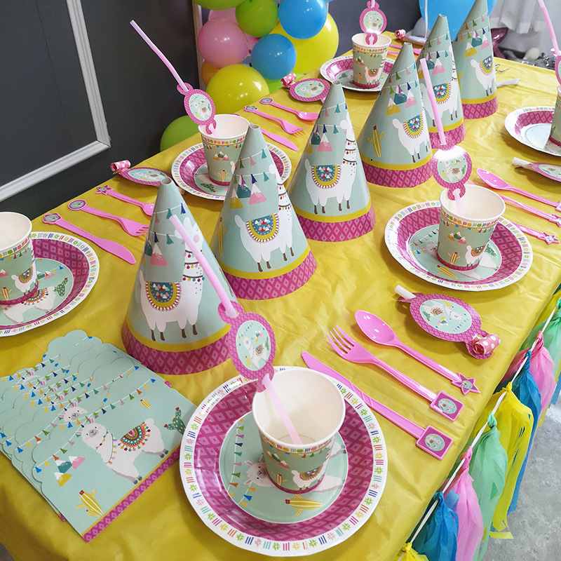 Lama party Disposable Tableware Baby Shower Birthday Party Decorations Alpaca Theme Paper Plates/Cups/Napkins/Straw
