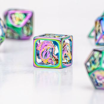 HYMGHO dragon design D20 D&D  brass with rainbow Finish Hollow Metal Dice sets for Role playing Games board game MTG Pathfinder solid polished brass dice 20mm metal cube copper poker bar board game gift 1pc