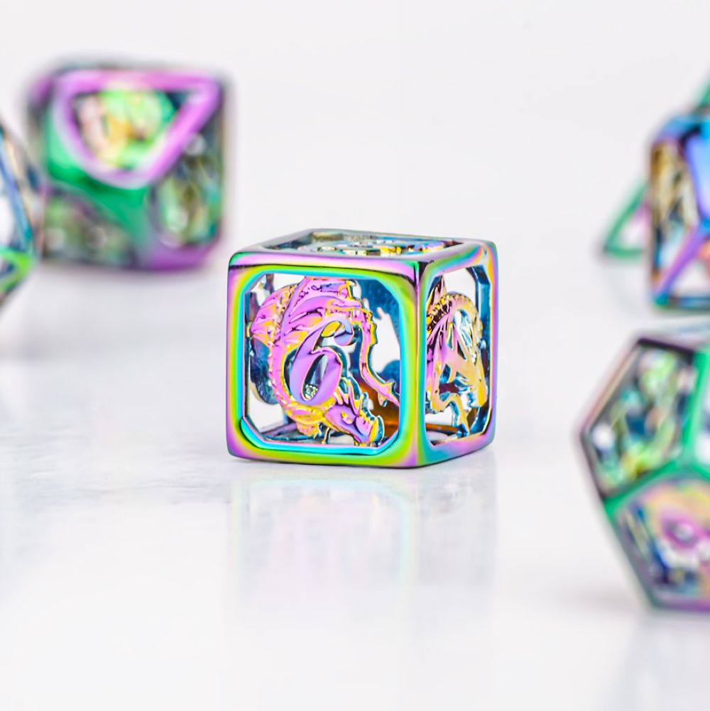 HYMGHO dragon design <font><b>D20</b></font> D&D brass with rainbow Finish Hollow <font><b>Metal</b></font> Dice sets for Role playing Games board game MTG Pathfinder image