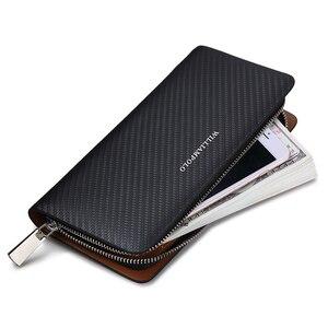 Image 3 - Мужской кошелек из 100% кожи WILLIAMPOLO, длинный вязаный бумажник с узором, 2019