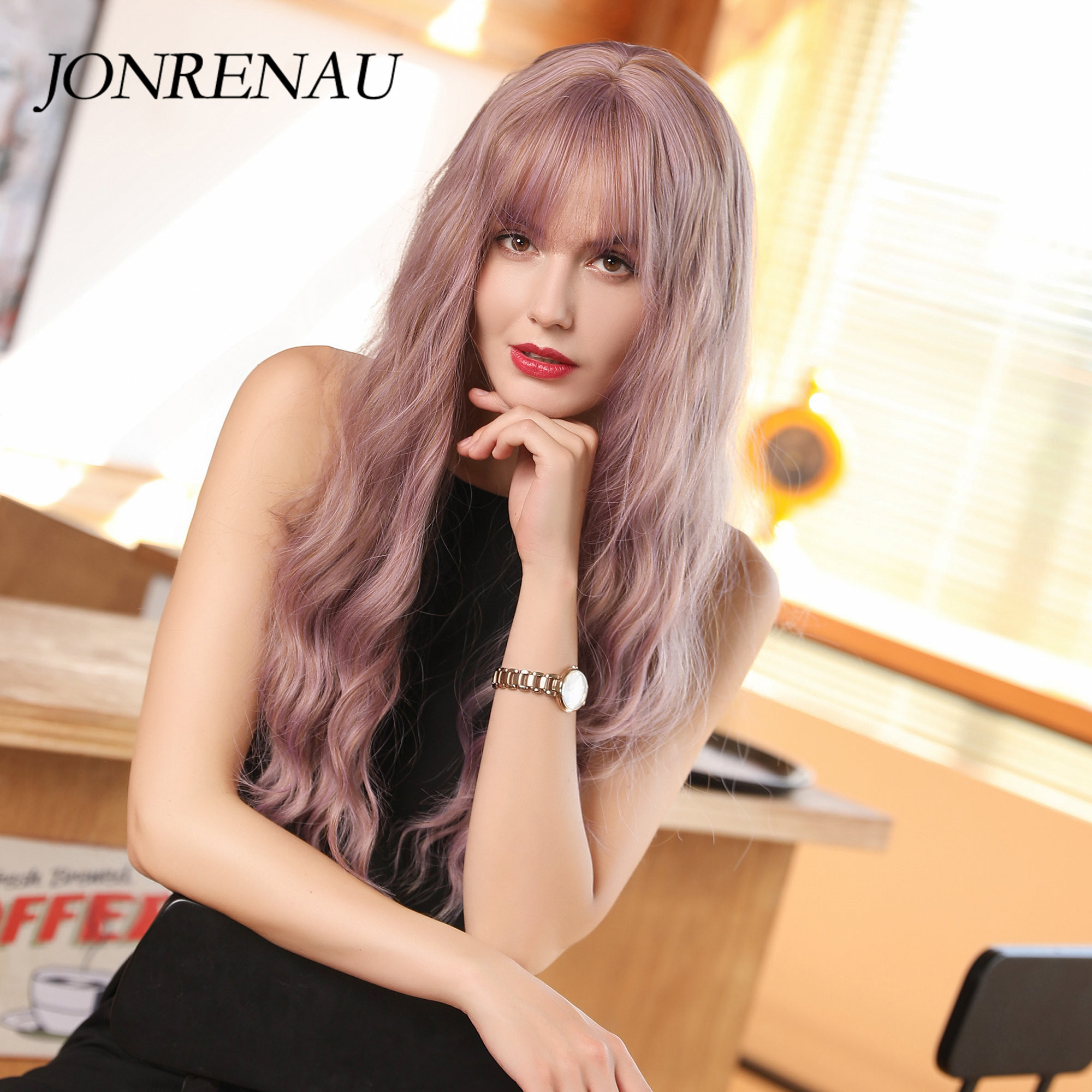 JONRENAU Synthetic Long Natural Wave Wigs With Air Bangs Mixed Purple Wigs For White/Black Women Party Or Daily Wear