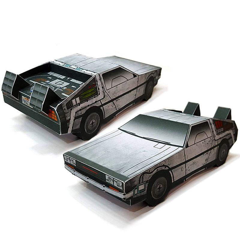 Back To The Future DMC-12 Car Folding Cutting 3D Paper Model Papercraft DIY Kids Adult Handmade Craft Toys ZX-020