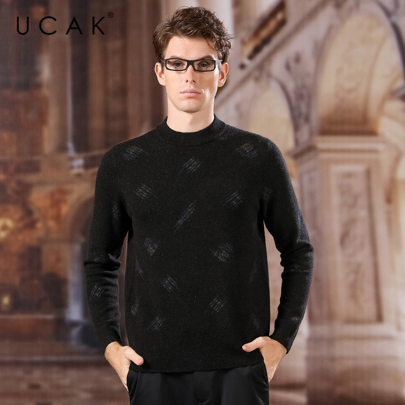 UCAK Brand Pure Merino Wool Sweaters Men 2020 New Arrival O-Neck Fashion Trend Casual Spring Tops Brand Pull Homme Sweater U3170