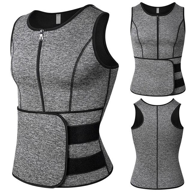 Men Body Shaper Waist Trainer Vest Slimming Shirt Sauna 6