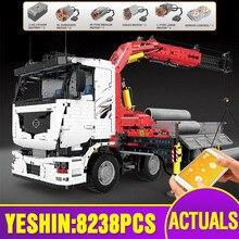 Molde rei 19002 técnica carro brinquedos compatíveis com MOC 8800 caminhão guindaste pneumático conjunto blocos de construção tijolos crianças presente natal