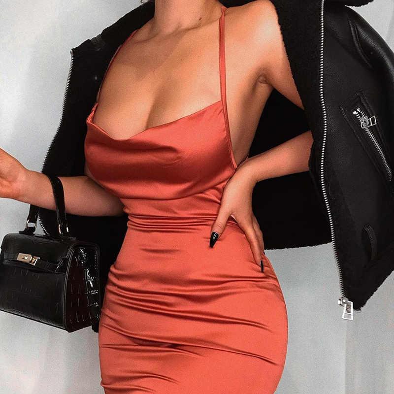 Neon satén lace up 2019 verano mujeres ceñido largo vestido sin mangas MIDI sin espalda elegante fiesta trajes sexy club ropa vestido