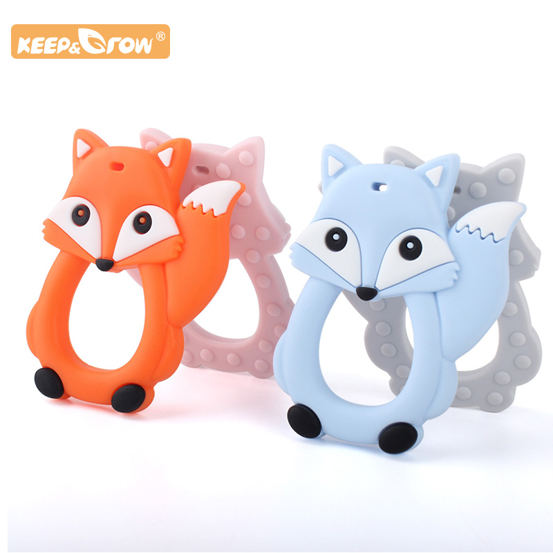 Keep&Grow 1pc Fox Baby Teether Cartoon Silicone Beads Rodent Ring Food Silicone Teething Toys Nursing Pacifier Clips Teethers