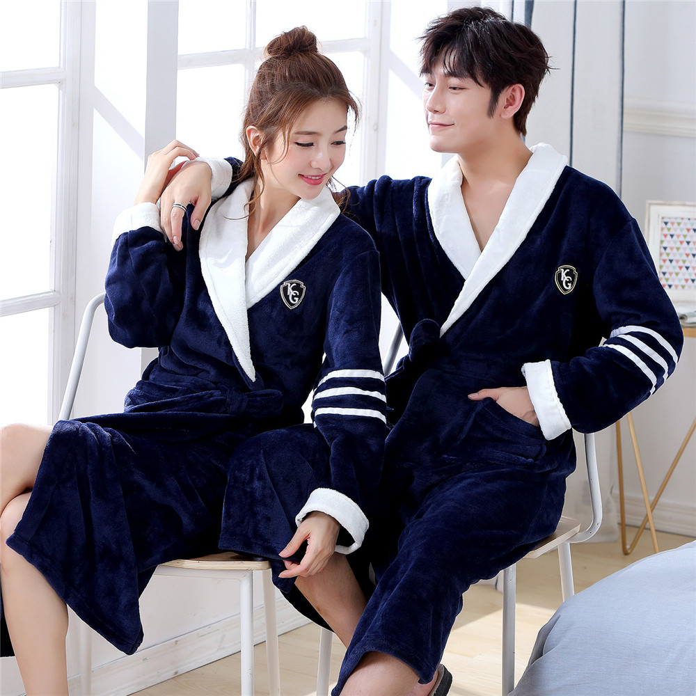 Robe Lovers Autumn Winter Dress Kimono Gown Flannel Bath Robe Home Clothing Men Navy Blue Sleepwear Casual Nightwear Negligee