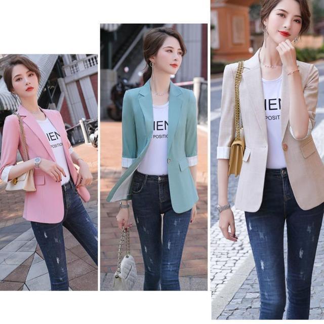 2021 Korean Fashion Women Short Blazers And Jackets Seven Sleeve Outerwear Elegant Ladies Coats Work Wear Black Pink Plus Size 2