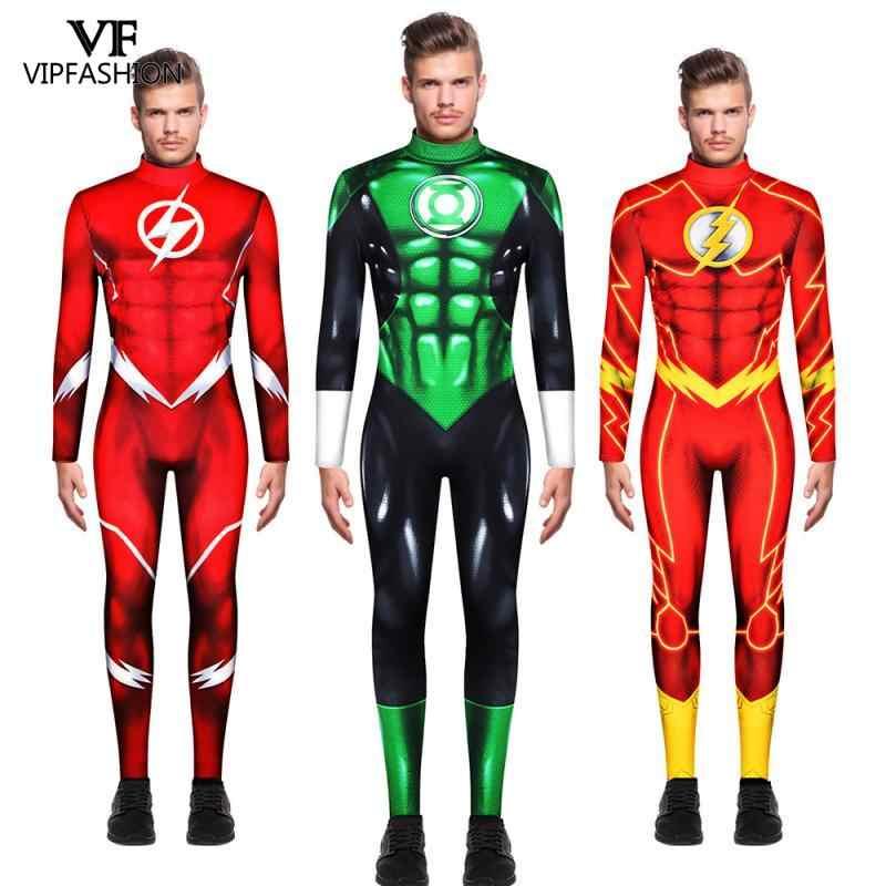 VIP Fashion DC Komik Film Green Lantern Kostum Zentai Superhero Flash Otot Karnaval Halloween Kostum untuk Pria Dewasa