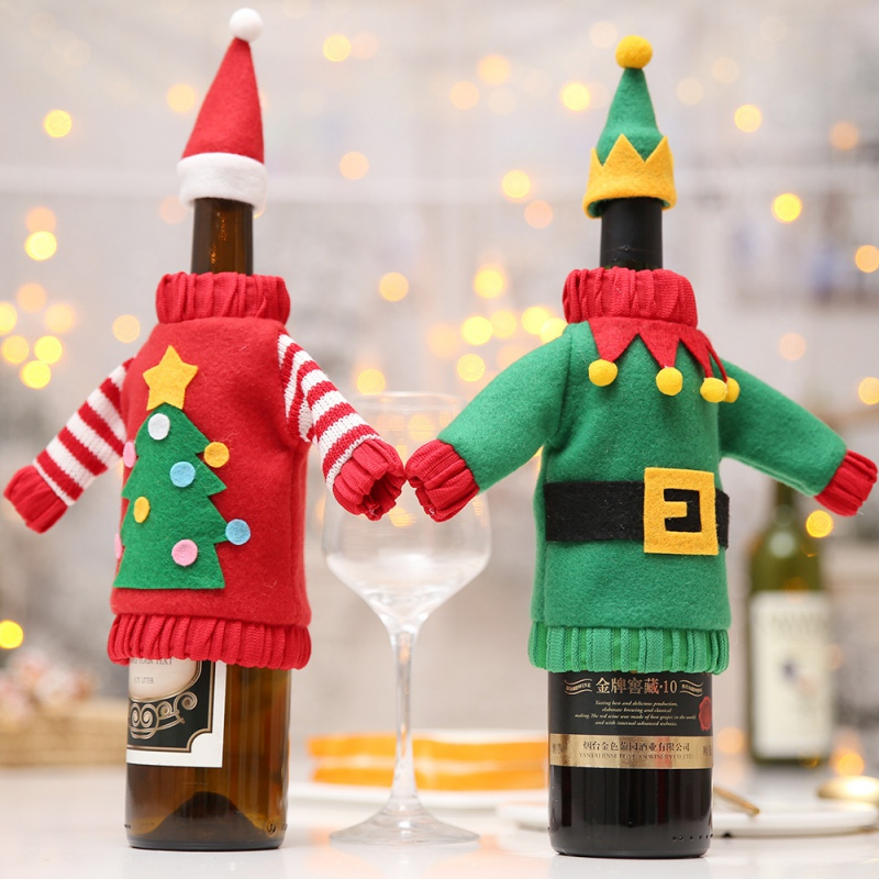 Christmas Wine Bottle Cover Holiday Decoration Champagne Wine Sweater Kitchen Table Decor