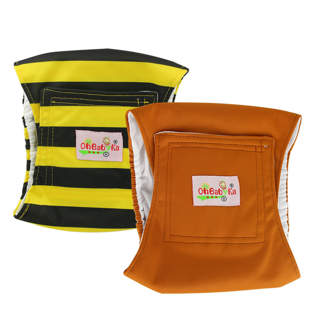 OhBabyKa Reusable Washable Dog Shorts Doggie Diaper Durable Comfortable Stylish Dog Pants Wraps For Male Dogs 3 Size S M L