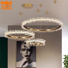 GPD Modern LED Chandelier Crystal Indoor Lighting Chandeliers Loft for Home Decor Brushed Gold Round Hanging Lamp Lustre Bedroom