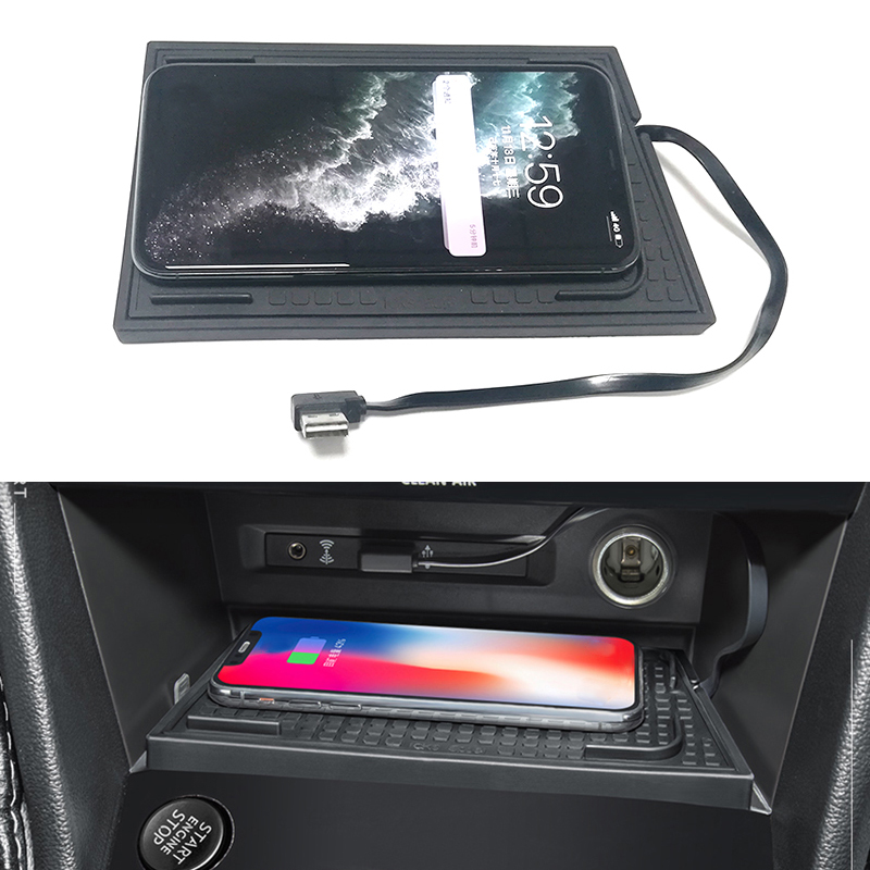 Car QI wireless charging phone charger charging plate accessories for VW <font><b>Tiguan</b></font> MK2 <font><b>Tiguan</b></font> Allspace Tharu 2017 2018 <font><b>2019</b></font> image