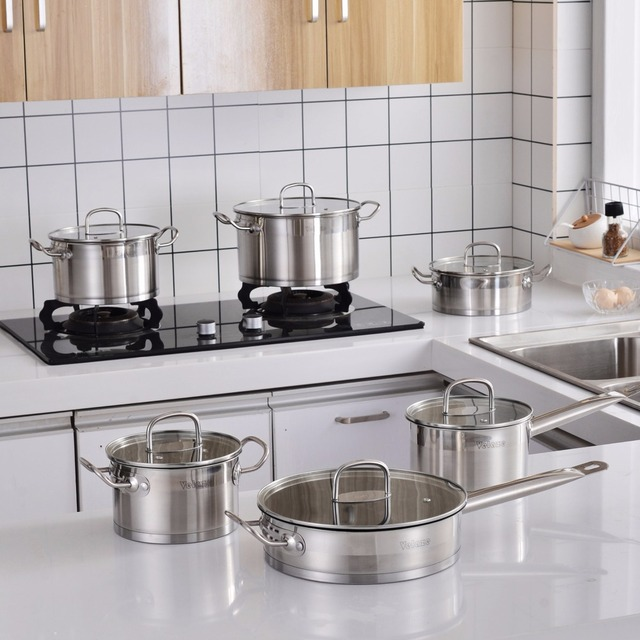 Velaze Cookware Set 12 Piece Stainless Steel Kitchen Cooking Pot&Pan Sets, Induction,Saucepan,Casserole,with Tempered Glass lid 5