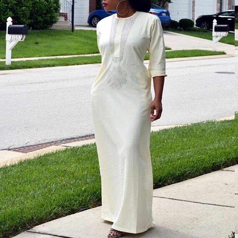 White African Women Dresses Dashiki Embroidery Plus Size Ladies African Dresses Robe Africaine Maxi Dress 3xl 4XL Scarf Hearwrap