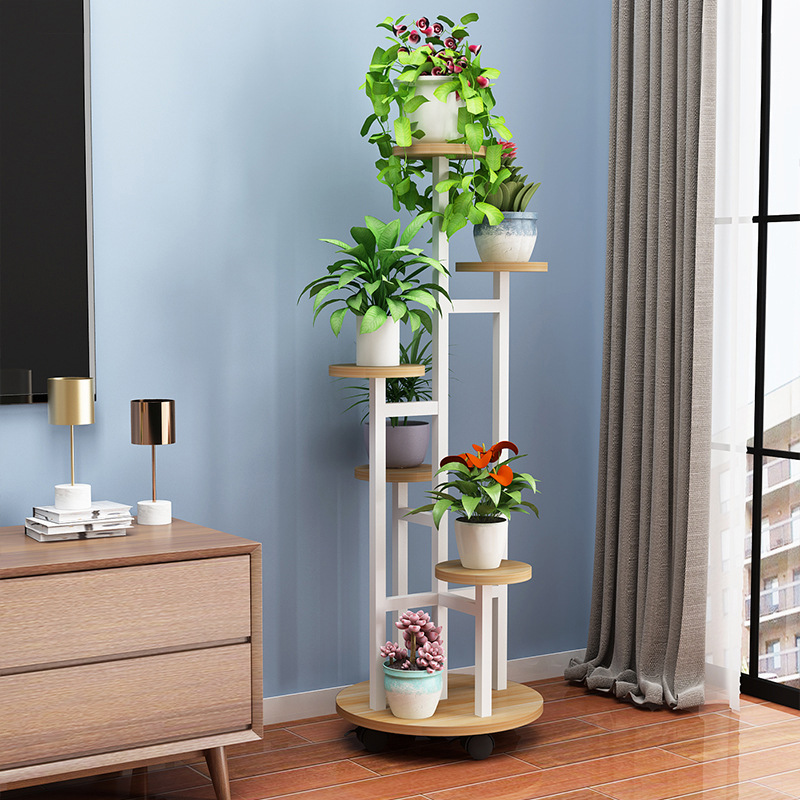 3/4/5 Layers Wood Plant Stakes Indoor Plant Rack Home Decor Flowerpot Ladder Shelf Movable Shelf With Pulley Balcony Plant Shelf