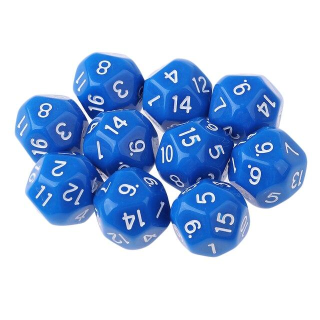 10 pièces 16 faces D16 14mm acrylique Opaque dés pour jeu de rôle RPG