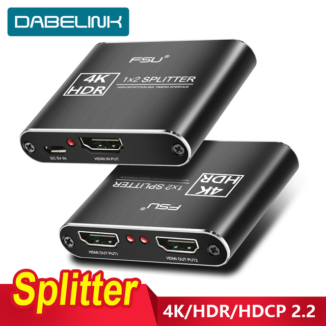 مقسم الوصلات البينية متعددة الوسائط وعالية الوضوح (HDMI) 2.0 4K @ 60Hz الجلاد 1X2 HDR 4K كامل HD فيديو HDMI إلى HDMI التبديل محول 1 في 2 خارج مكبر للصوت للتلفزيون DVD PS3 Xbox