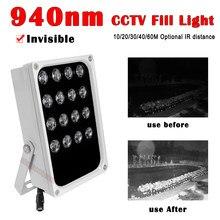 Iluminador IR Invisible de 940nm, conjunto de luces LED infrarrojas, luz de relleno CCTV IP66 para exteriores, cámara CCTV impermeable para visión nocturna, 16 Uds.