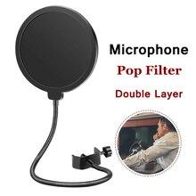 יוניברסל סטודיו הקבל מיקרופון כפול שכבה פופ מסנן גמיש מסך רוח מיקרופון צליל מסנן עבור BM 800 k669 מיקרופון