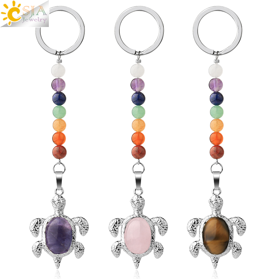 CSJA Natural Stones Keychains 7 Chakra Chain Silver-color Sea Turtle Pendant Oval Bead Tortoise Keyring For Car Bag Jewelry G349