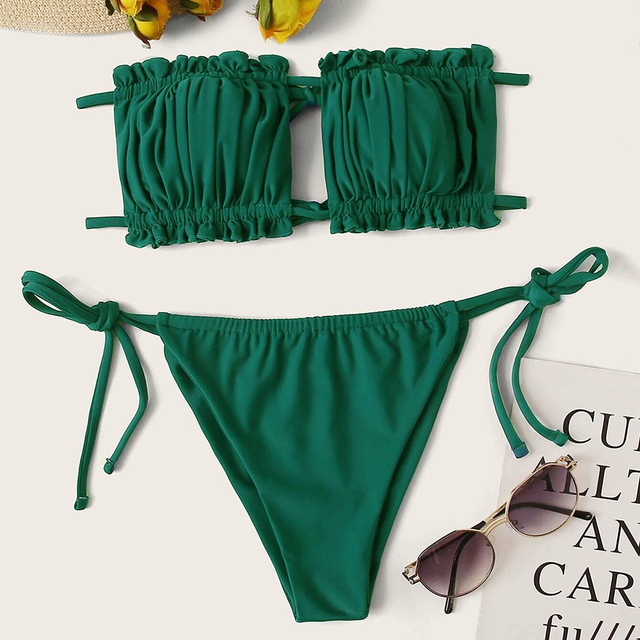 Pleated Bandeau Swimsuit