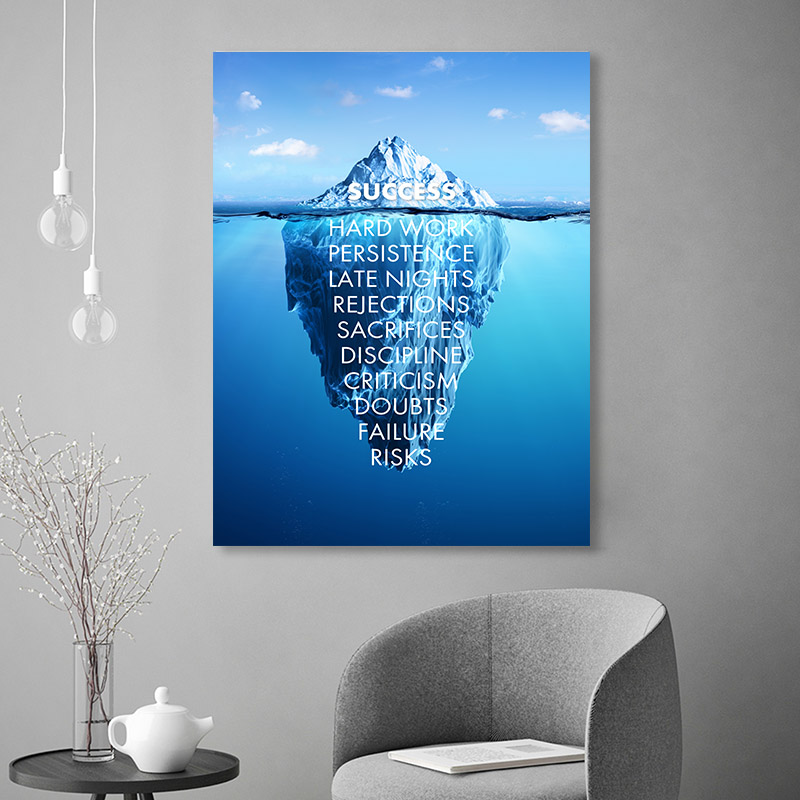 Ice Mountain Success Quote Motivational Poster Nordic Wall Art Canvas Print Painting Modern Home Office Room Decoration Picture image