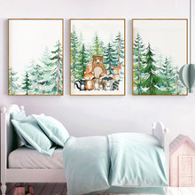 Woodland Animal Print Nursery Wall Art Painting Nordic Poster Cartoon Canvas Painting Fox Deer Bear Wall Picture Kids Room Decor недорого