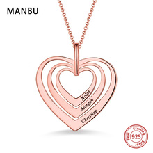 Personalized custom necklace heart nameplate 925 silver chain pendant necklace for women fashion jewelry gift 2019 free shipping manbu personalized custom superman necklace sterling silver chain necklace for women men jewelry anniversary gift free shipping
