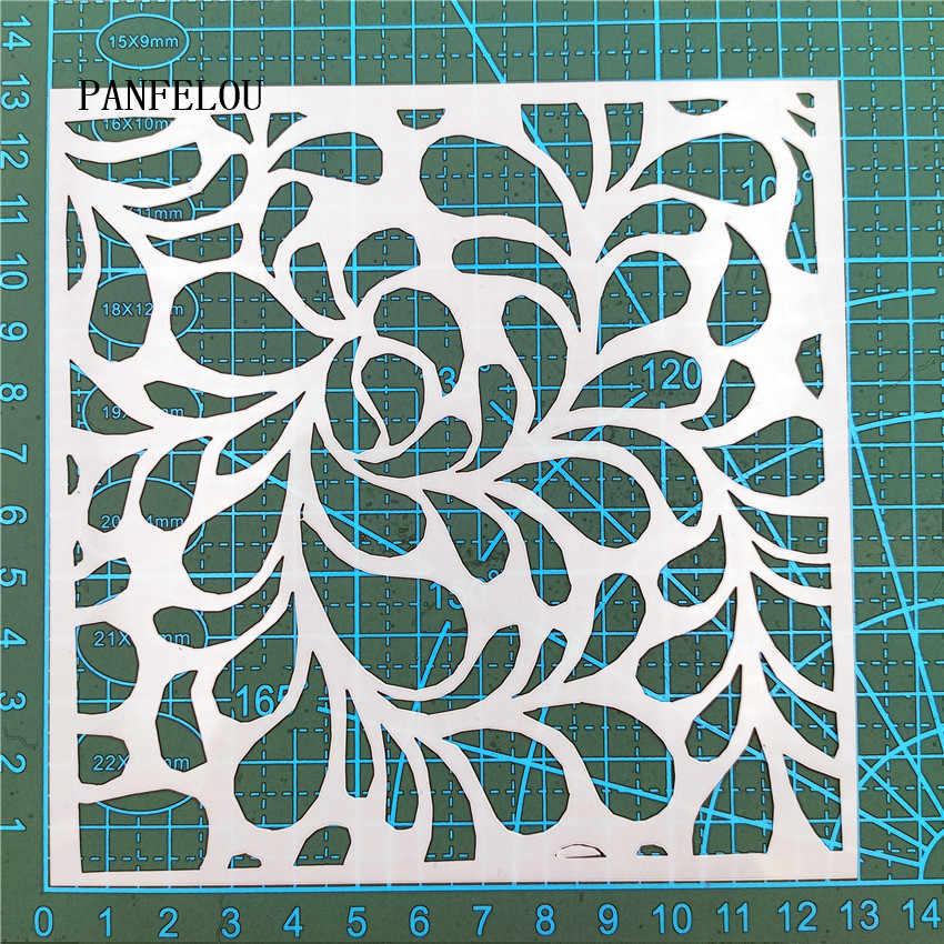 13*13 Cm Tetes Air Scrapbook Stensil Semprot Cetakan Plastik Perisai DIY Kue Berongga Perhiasan Cetak Renda Penguasa valentine