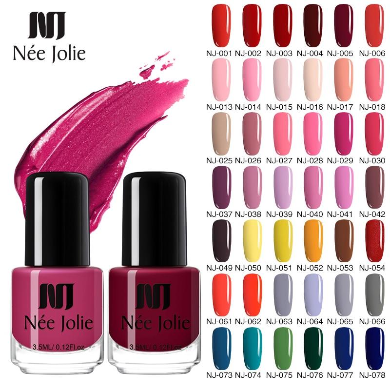 NEE JOLIE 73 Colors Solid Color Nail Art Polish Varnish Hybrid Long Lasting  Nail Art Decoration Polish Nail 3.5ML