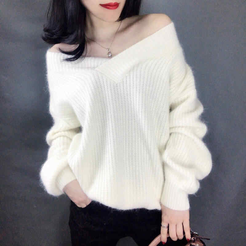 2019 Autumn Winter New Women V Neck Solid Sweaters Korean Loose Knitted Pullovers Clothing Casual Long Sleeve Plus Size Tops