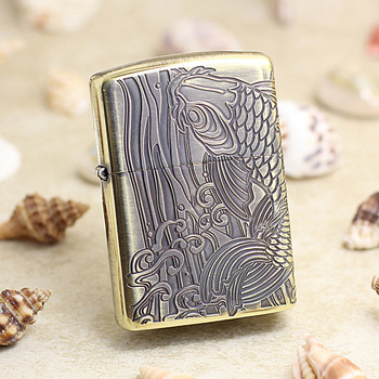 Genuine Zippo oil lighter copper windproof 3D carving Carp fish cigarette Kerosene lighters Gift With anti-counterfeiting code