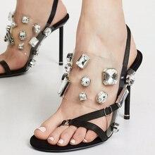 Sexy Thin High Heel Clear PVC Sandals Women Split Toe Glittery Rhinestone Back Strap Sandalias Summer Party Nightclub Shoes