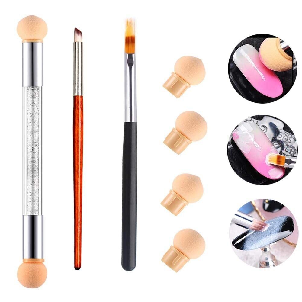 Комплект из 3 предметов, для ногтей губки ручки с кисточками комплект, 3 разных для ногтей с двумя головками губки для рисования по