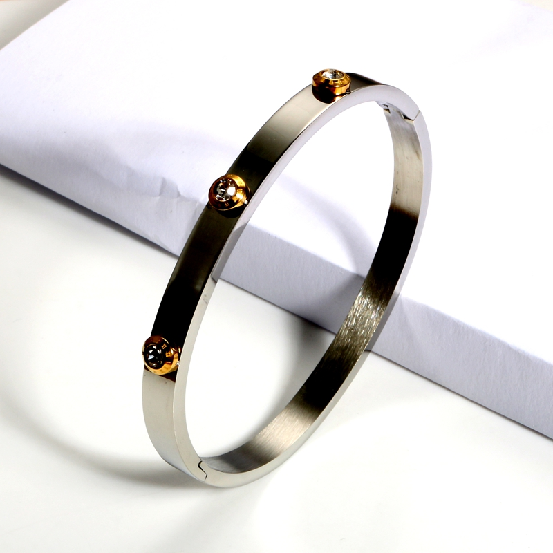 Trendy Wedding Party Charm Bangles Men Women Jewelry Luxury Brand Crystal OL Staiess Steel Cuff Bangles  - buy with discount
